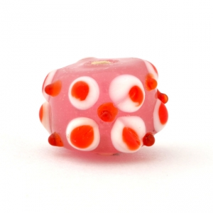 Pink Glass Beads with Red Spikes & Spots