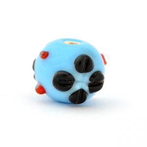 Blue Glass Beads with Red Spikes & Flower Design