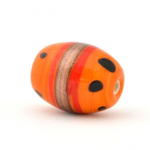 Orange Glass Beads with Black Dots & Brown Stripes