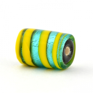 Cylindrical Yellow with Silver Foil Glass Beads