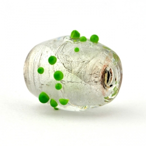 Barrel Shaped Transparent Glass Beads with Green Spikes