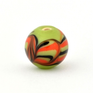 Green Glass Beads with Red & Black Spiral Linings
