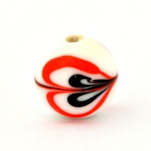 White Glass Beads with Black & Red Heart Design