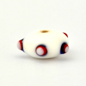 White Glass Beads with Red & White Spikes