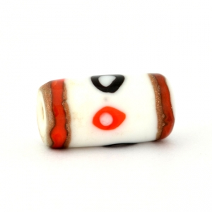 White Glass Beads with Black & Red Spots