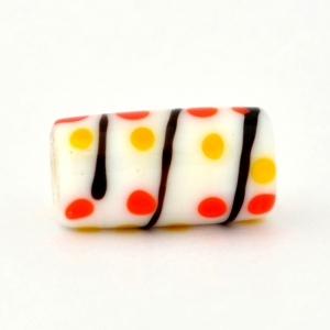 White Glass Beads with Red & Yellow Dots