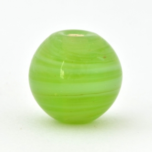 Lime-Green Round Glass Beads with Spiral Designs