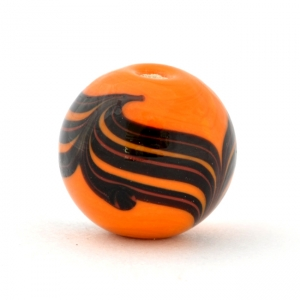Orange Round Glass Beads with Black Spiral Design