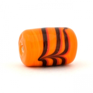 Orange Cylindrical Glass Beads with Black Spiral Design