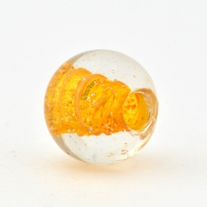 Transparent Round Glass Beads with Yellow Hole Lining