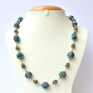 Blue Handmade Necklace Studded with Metal Rings & Metal Balls