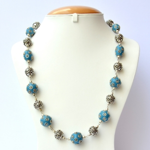 Blue Handmade Necklace Studded with Silver Plated Rings & Balls
