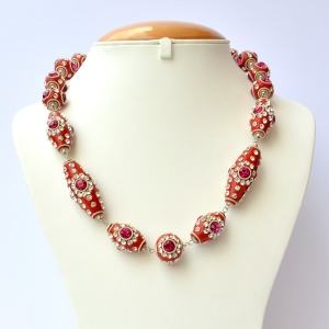 Red Handmade Necklace Studded with Metal Rings & Rhinestones