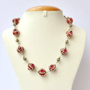 Red Handmade Necklace Studded with Pink + White Rhinestones
