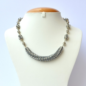 Gray Handmade Necklace Studded with White + Gray Rhinestones