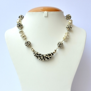 Black Handmade Necklace Studded with Metal Rings & Rhinestones