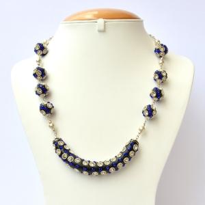 Black Handmade Necklace Studded with White + Blue Rhinestones