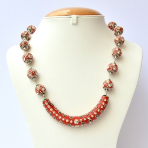 Red Handmade Necklace Studded with Rhinestones & Accessories