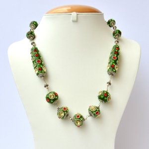 Green Handmade Necklace Studded with Metal Rings & Rhinestones