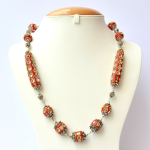Handmade Red Necklace Studded with Mirror Chips & Rhinestones