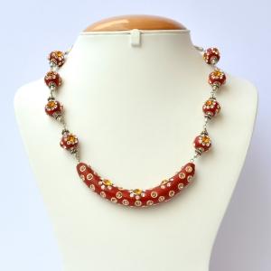 Handmade Red Necklace Studded with White & Orange Rhinestones