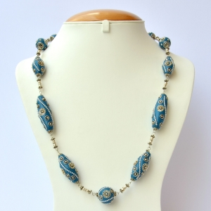 Handmade Necklace having Blue Beads with Metal Accessories