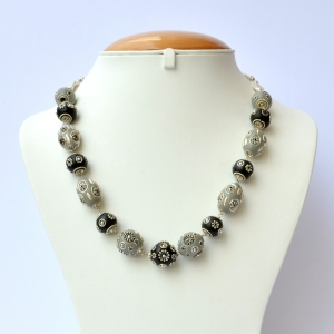 Handmade Necklace with Black & Gray Beads having Metal Flowers