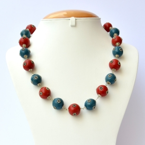 Handmade Necklace with Red & Blue Beads having Metal Flowers