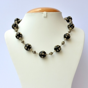 Handmade Necklace Studded with Black Beads having Metal Rings