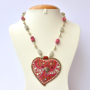 Handmade Red Necklace Studded with Pink & White Rhinestones