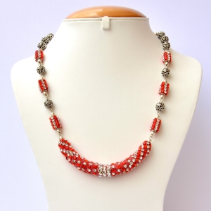 Handmade Necklace Studded with Red & White Rhinestones