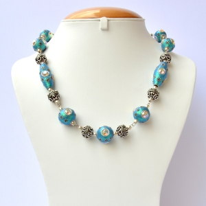 Handmade Blue Glitter Necklace Studded with Rainbow Rhinestones