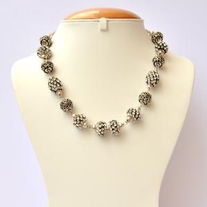 Handmade Black Necklace Studded with White Rhinestones