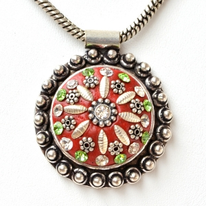 Handmade Red Pendant Studded with Rhinestones & Metal Accessories