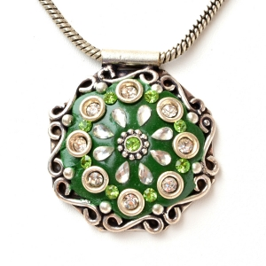 Handmade Green Pendant Studded with Rhinestones & Accessories
