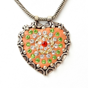 Handmade Orange Pendant Studded with Rhinestones