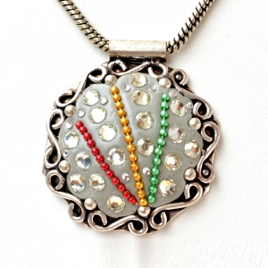 Handmade Gray Pendant Studded with Metal Chains & Accessories