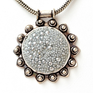 Handmade Pendant Studded with Silver Glitter