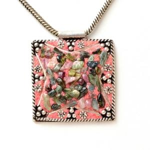 Handmade Pink Pendant Studded with Tourmaline Gemstone