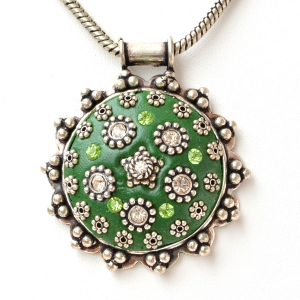 Handmade Round Green Pendant Studded with Metal Flowers & Rhinestones