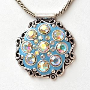 Handmade Blue Pendant Studded with Metal Rings & Rainbow Rhinestones