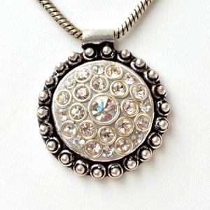 Handmade Gray Pendant Studded with Metal Rings & Rhinestones