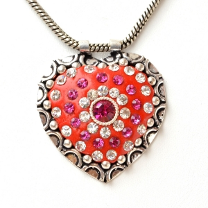 Handmade Heart Shaped Red Pendant Studded with Rhinestones