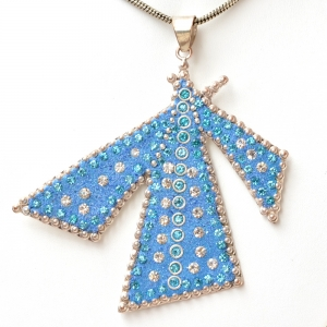 Handmade Blue Pendant Studded with Metal Rings & Rhinestones