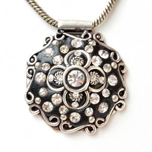 Handmade Black Pendant Studded with Rhinestones & Metal Accessories