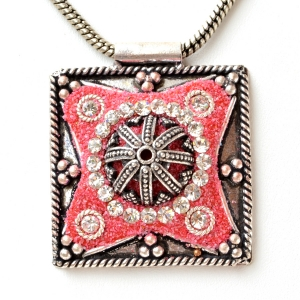 Handmade Pink Pendant Studded with Rhinestones & Metal Accessories