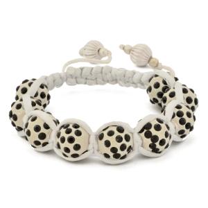White Shamballa Bracelet With Black Rhinestones | MSBR-163