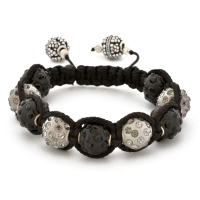 Shamballa Bracelet With Black And Gray Beads | MSBR-157