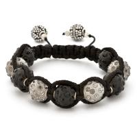 Shamballa Bracelet With Black And Gray Beads | MSBR-157