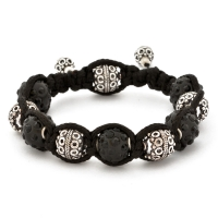 Shamballa Bracelet With Black Rhinestone Beads & Copper Beads | MSBR-156